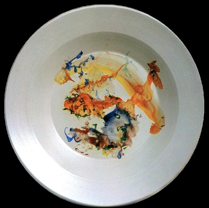 """"""" Sileni """" 1994 :piatto in maiolica su smalto satinato 960° diametro 60 cm"""