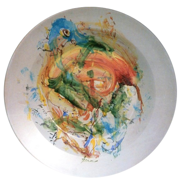 """ Gorgone"" 1995: piatto in maiolica 960° diametro 60 cm"