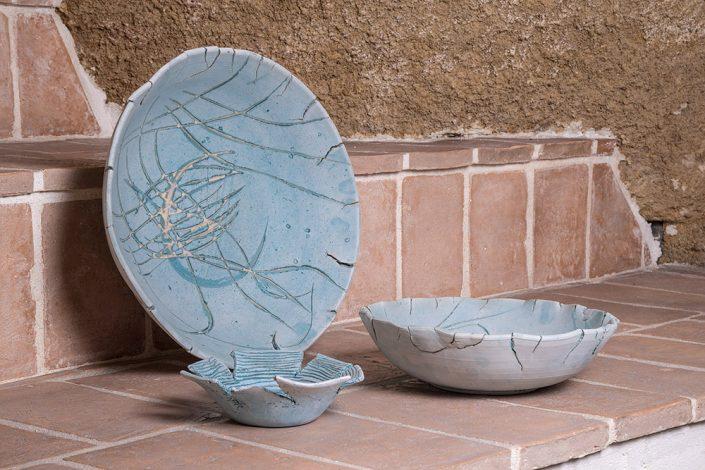 Coppe frastagliate incise,collezione Mediterraneo