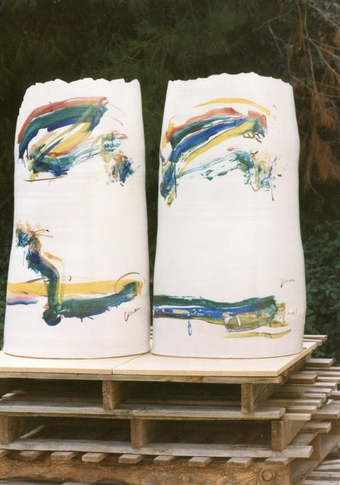 Lastrre in maiolica, riverstimento : smalto matt h. cm 100x50. Pezzi unici