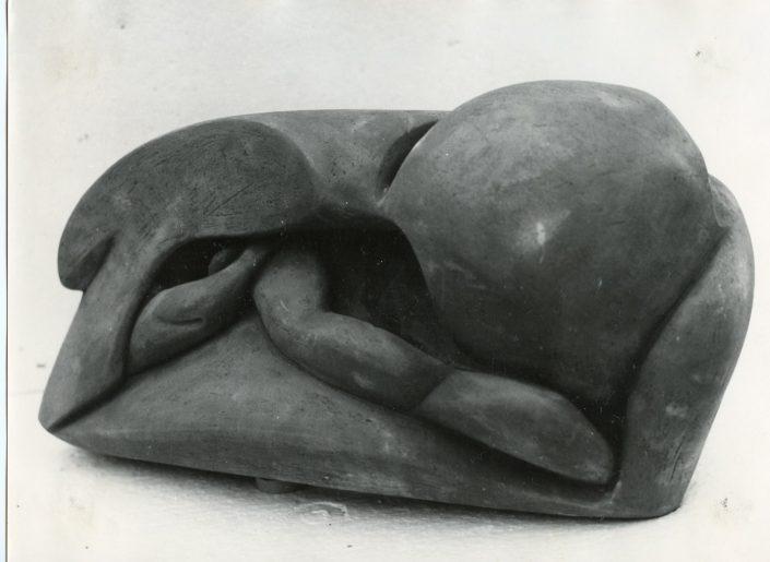 """Scultura in cotto refrattario """"insetto"""", Fornaro 1972"""