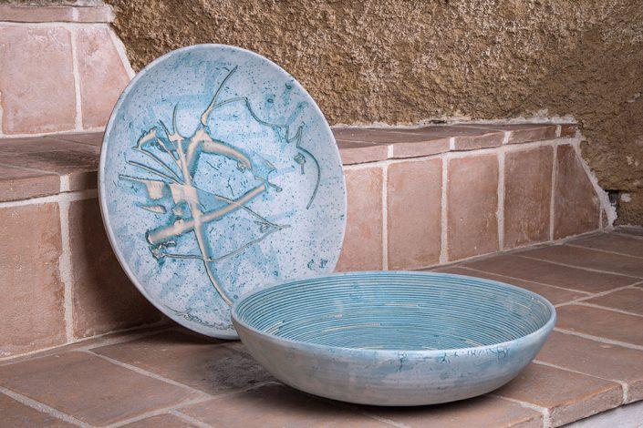 Coppe in maiolica incisa astratta e mille righe ,collezione Mediterraneo