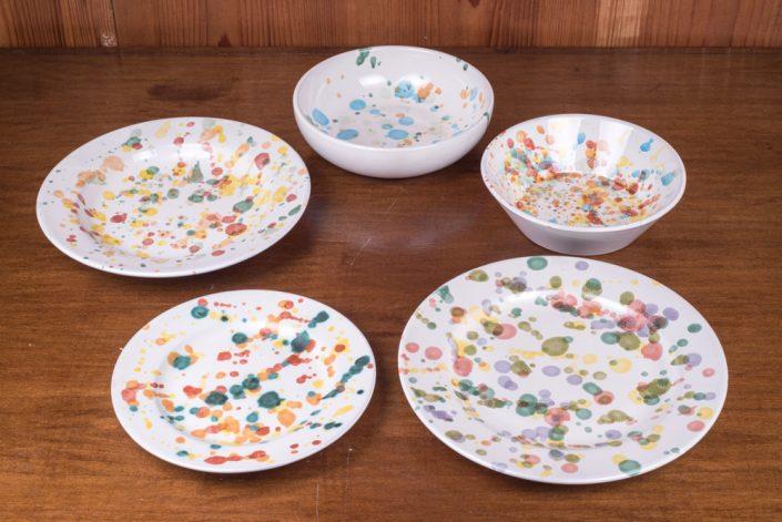 """Piatti da tavola collezione """"Gocce colorate"""" (scodella,scodella svasata,piatto piano,piatto frutta,piatto fondo)"""