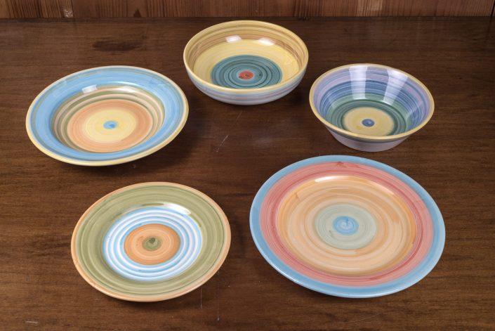 Piatti da tavola collezione Bande colorate (scodella,scodella svasata,piatto piano,piatto frutta,piatto fondo)