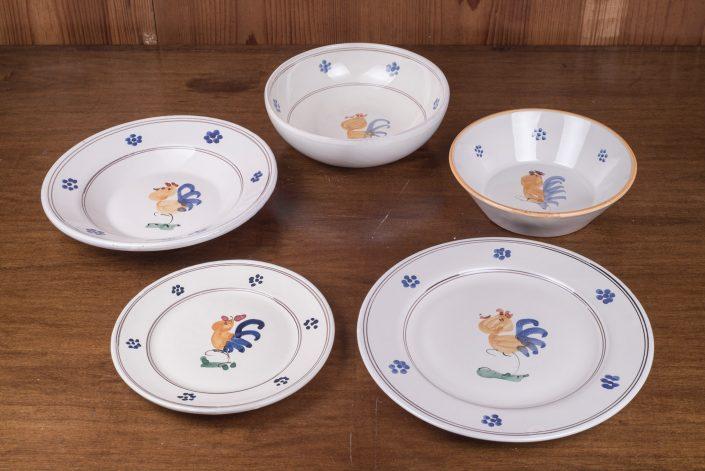 Piatti da tavola collezione Tradizionale gallo,disponibile con o senza bordo arancio. (scodella,scodella svasata,piatto piano,piatto frutta,piatto fondo)
