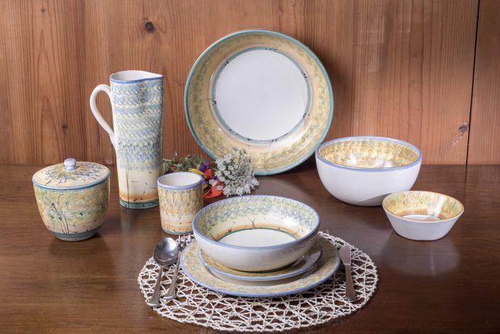 Servizio di piatti in ceramica dipinta a mano, stile Paesaggio(blu).